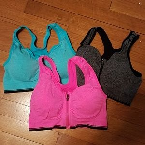 Other - Set of 3 front zip padded sports bras Medium